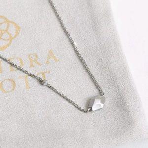 "Kendra Scott ""Laureen"" Matte Silver Logo Necklace"